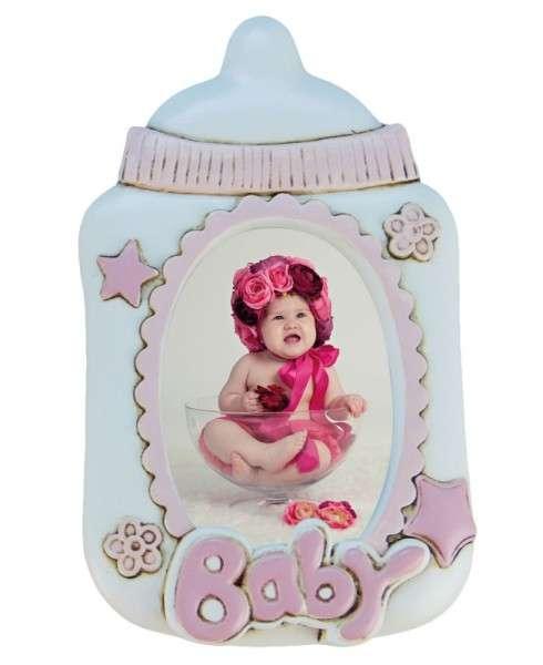 Baby-Fotorahmen Flasche rosa