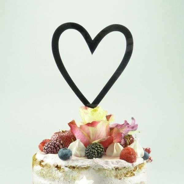 """Cake-Topper """"Herz"""" Acryl Schwarz"""