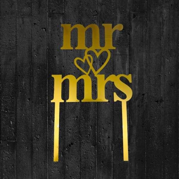 "Cake-Topper ""Mr&Mrs"" mit Herz Acryl gold"