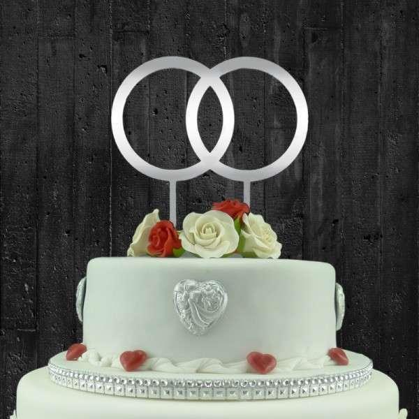 """Cake-Topper """"Doppelringe"""" spieglendes Acryl"""