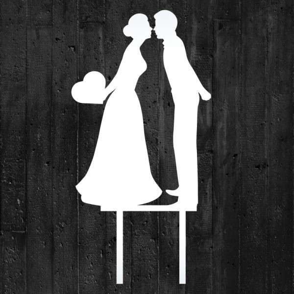 """Cake-Topper """"Brautpaar küssend mit Herz"""" Acryl weiß"""