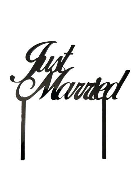 "Cake-Topper ""Just married"" Acryl schwarz"