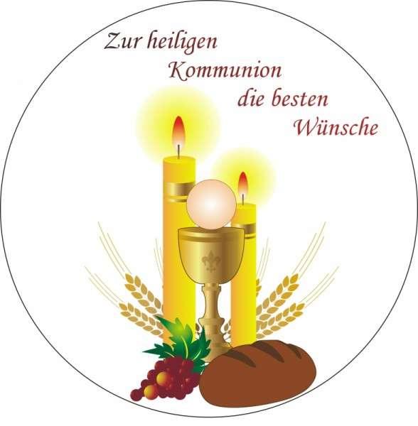 """Zuckeraufleger """"Zur hlg. Kommunion die besten Wünsche"""" 100mm"""