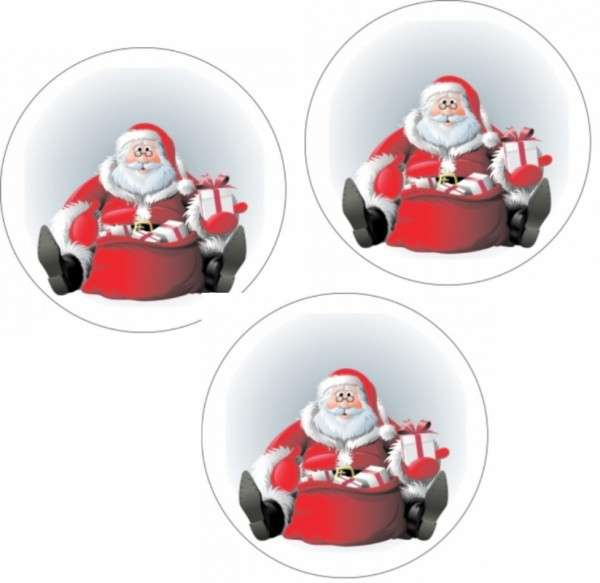 Zuckeraufleger Weihnachtsmann mit Brille 4cm