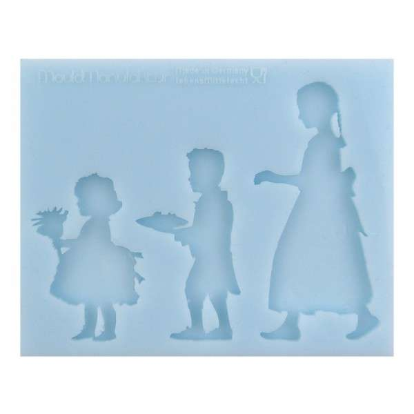 "Silikonform ""Silhouette Blumenkinder"" ca.10,5x8,3x 0,7cm Figuren 4,5 5,5 7cm"