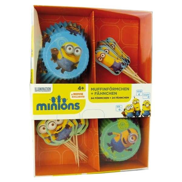 Minions Muffin Backset 24 Muffinförmchen, 24 Miniosfähnchen