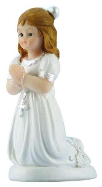 Tortenfigur Kommunionmädchen mit Schleife kniend klein ca. 65mm
