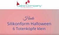 "Silikonform ""6 Totenköpfe klein"" ca.7,7 x 6,5 x 2 cm Figuren ca.2 cm"