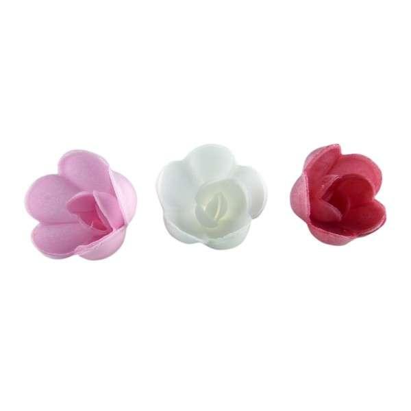 Esspapier Rose klein weiß,rosa,pink 30 mm 12Stck