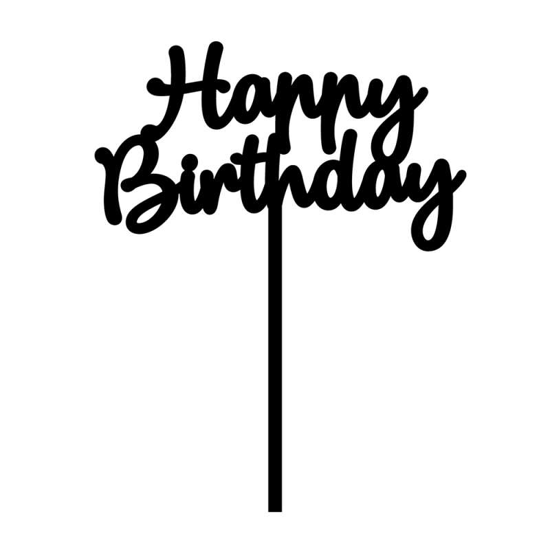 "caketopper ""happy birthday"" acryl schwarz  geburtstage"