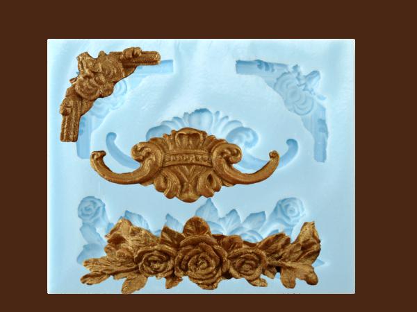 "Silikonform "" Rosen-Ornamente"" 4 Ornamente"