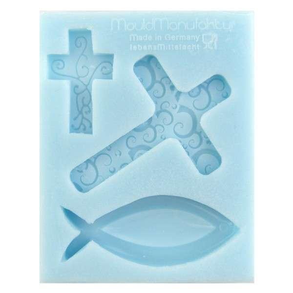 Silikonform Kreuz groß, Kreuz klein und Fisch