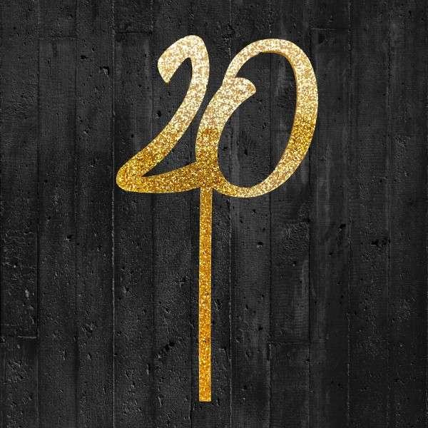 Cake-Topper 20 Glitzergold