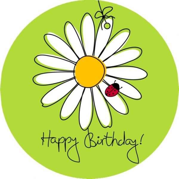 tortenaufleger happy birthday mit blume 10cm  geburtstage