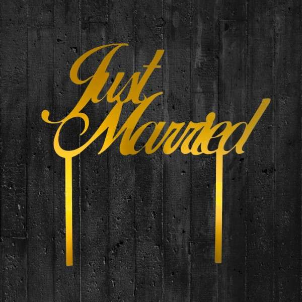 """Cake-Topper """"Just married"""" Acryl gold"""