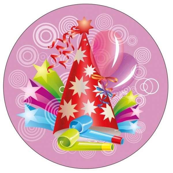 Zuckeraufleger Geburtstag / Party pink 10cm