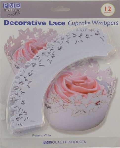 Cup Cake Wrapper Blumen weiß 12 Stück