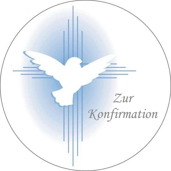 """Zuckeraufleger Taube """"Zur Konfirmation"""" blau 100mm"""