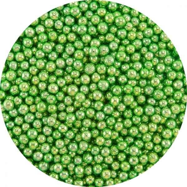 Zuckerperlen Metallic Grün 4mm 60g