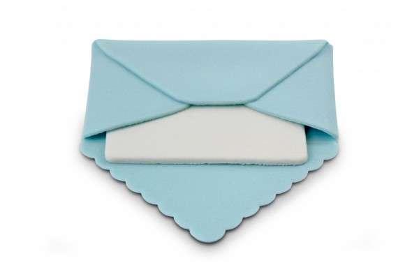 Zuckerdekoration Briefumschlag blau, ca.90 x 90 x 5mm