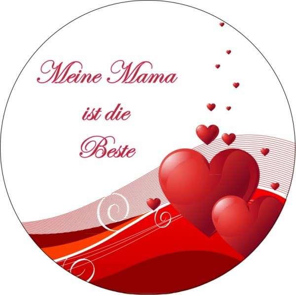 """Tortenaufleger Muttertag """"Mama ist die Beste"""" 10cm 1 Stck"""
