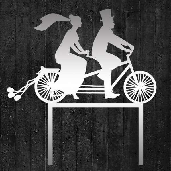 """Cake-Topper """"Brautpaar auf Fahrrad"""" Acryl Spiegel"""