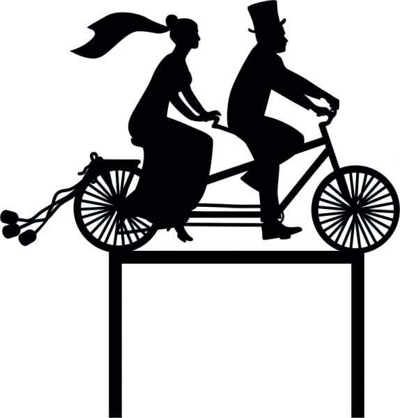 """Cake-Topper """"Brautpaar auf Fahrrad"""" SCHWARZ Acryl"""