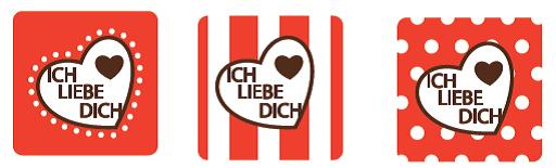 "Schokoladenaufleger ""Ich liebe Dich"" 12 Stück quatratisch ca. 30mm"