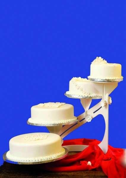 Tortenständer Classic Weiß, 4 Etagen, Profiqualität