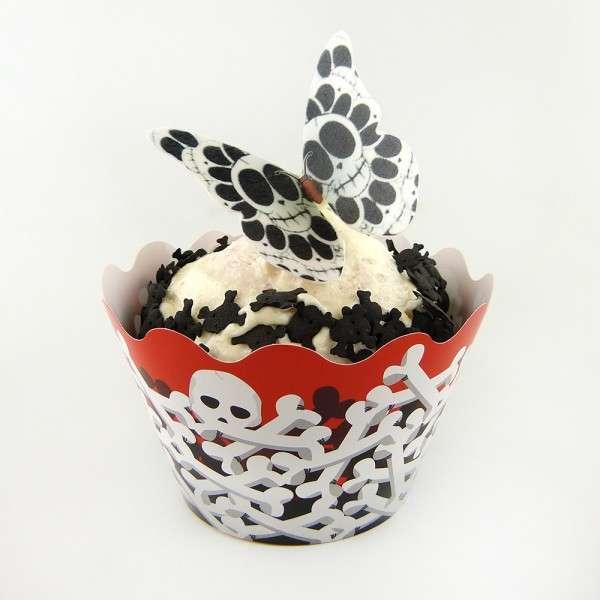 Cupcake Banderole Knochen 12 Deko Banderolen