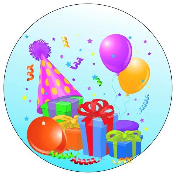Tortenaufleger Geburtstag / Party blau 10cm
