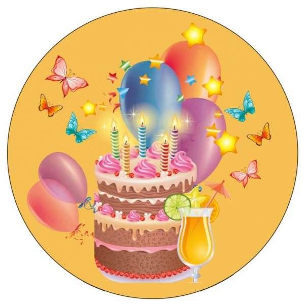 Zuckeraufleger Geburtstag / Party gelb 10cm