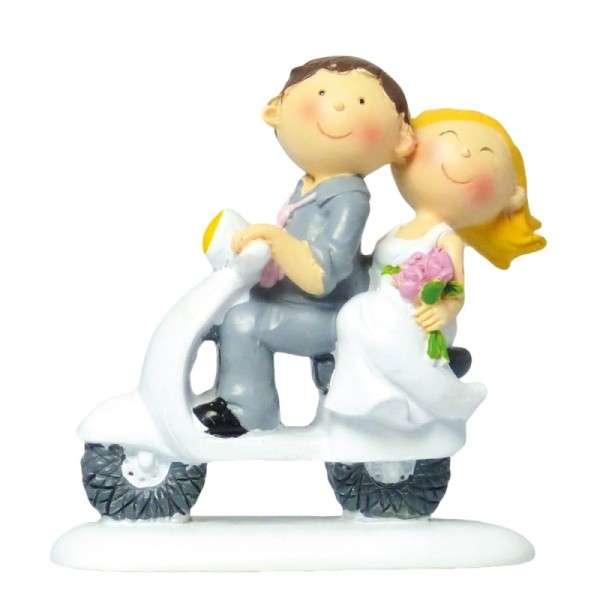 Tortendekoration Hochzeit Tortenfigur Brautpaar auf Roller
