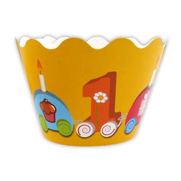Cupcake Banderole 1. Geburtstag 12 Deko Banderolen