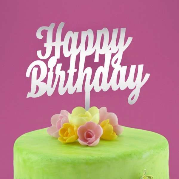 "Cake-Topper ""Happy Birthday"" Acryl Spiegel"