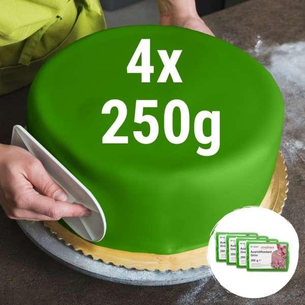 Farbiger Fondant grün 4 x 250 g