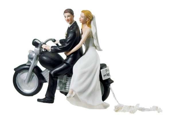 Hochzeitsfiguren Brautpaar Motorrad