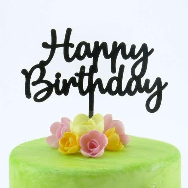 """Cake-Topper """"Happy Birthday"""" Acryl schwarz"""