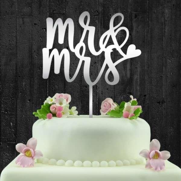 "Cake-Topper ""Mr&Mrs"" 2 Acryl Spiegel"