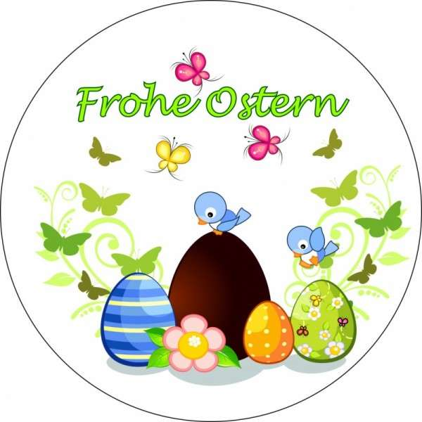 "Tortenaufleger Ostereier ""Frohe Ostern"" 10cm"