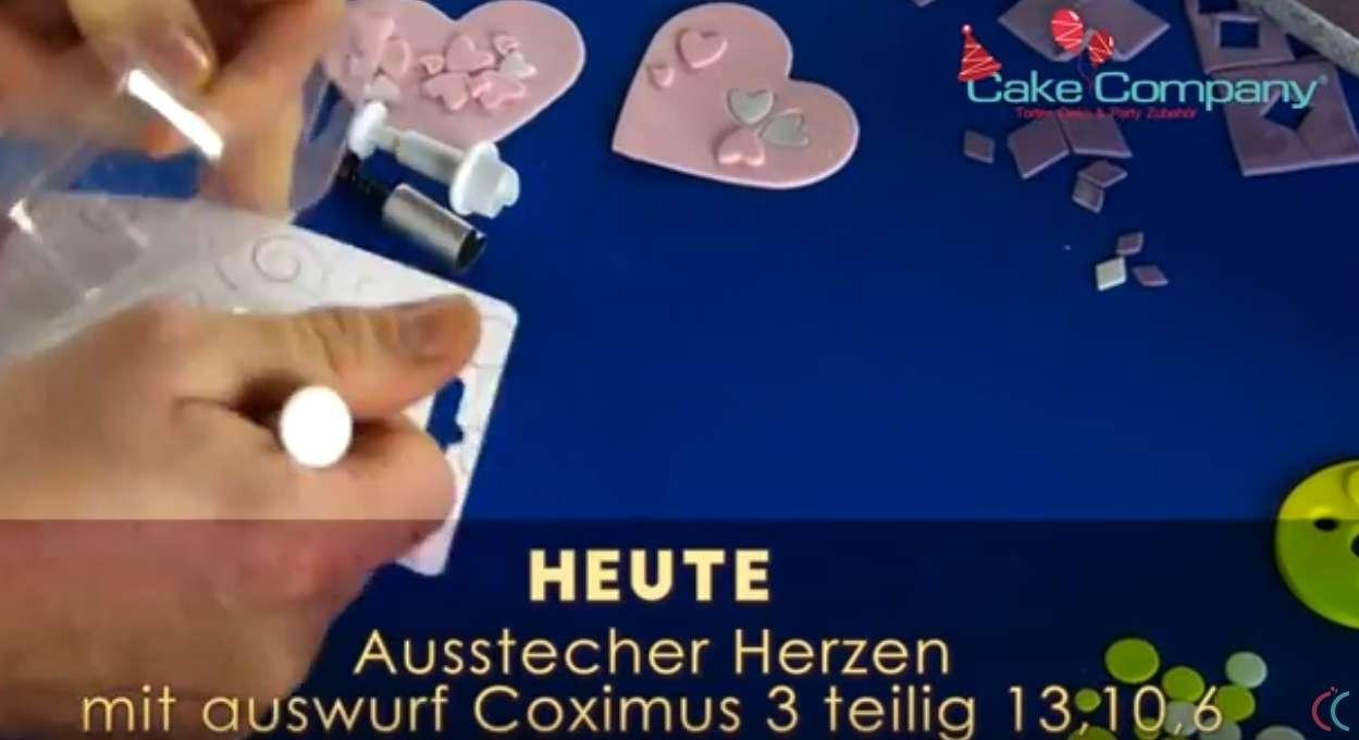 Ausstecher Herzen mit Auswurf COXIMUS 3-teilig Größe 13, 10, 6 mm