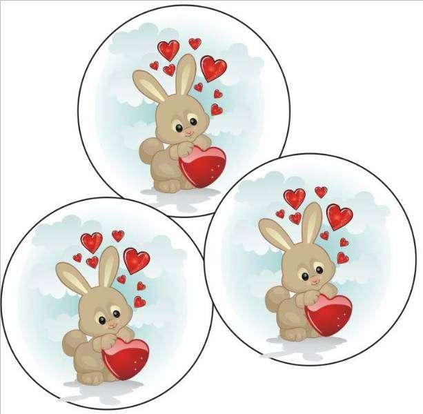 tortenaufleger hase mit herz 40mm 12 stck  valentinstag