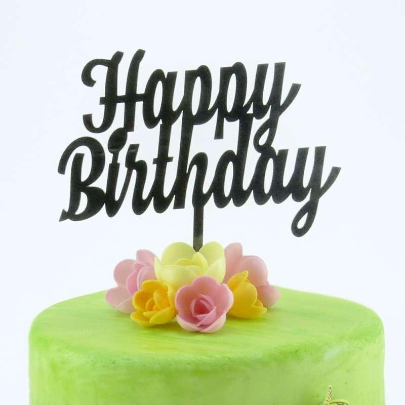 "cake-topper ""happy birthday"" 2 schwarz | geburtstage/party"