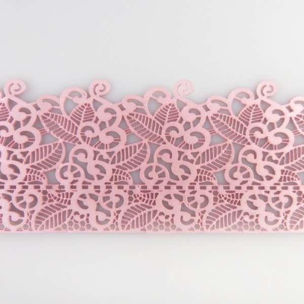"""Sweet lace-rosa """"Blüten und Blätter"""" 38x8cm essbare Spitze - fertig zum Gebrauch"""