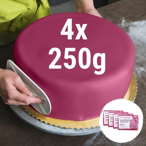 Farbiger Fondant dunkel pink 4 x 250 g