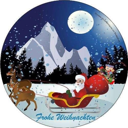 Tortenaufleger Weihnachtsmann mit Schlitten 4cm