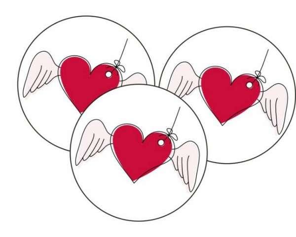 Tortenaufleger fliegendes Herz 40mm 12 Stck