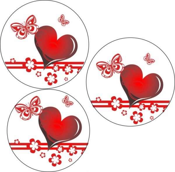 Tortenaufleger Valentin - Herzen mit Schmetterling 40mm 12 Stck