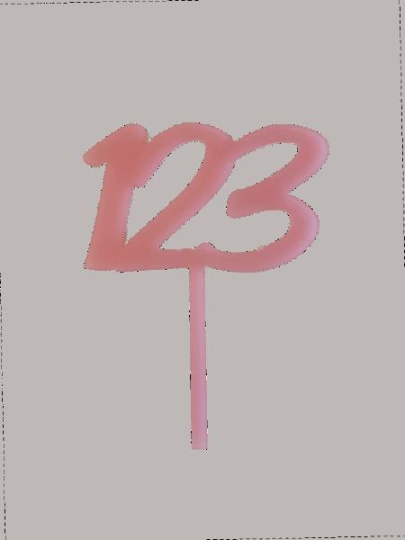"""Cake-Topper Einschulung """"123"""" rosa"""