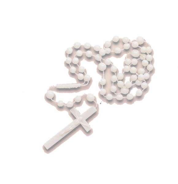 Tortendeko Rosenkranz weiß Kreuz ca 55mm